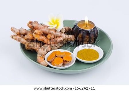 Turmaric (Curcuma longa L. ) - stock photo