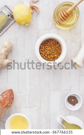 Turmeric and ginger tea.  Homemade ginger turmeric  tea, ingredients.  Top view, blank space, vintage toned image. Natural light  - stock photo