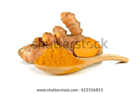 Turmeric and turmeric powder on white background. - stock photo