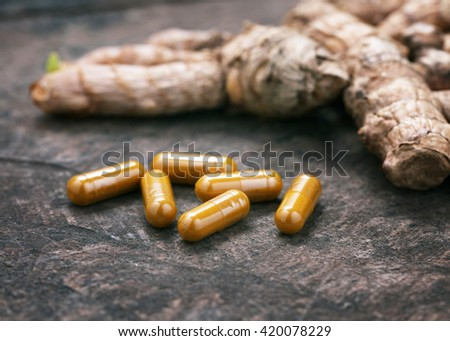 Turmeric capsules, The concept of healthy food. - stock photo