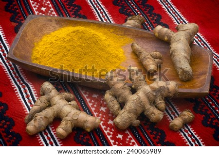 Turmeric (Curcuma longa) is a tropical plant in the same family as ginger, native to India, and cultivated throughout the tropics around the world.  - stock photo