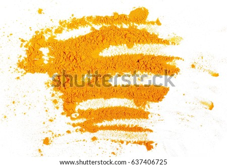 Turmeric (Curcuma) powder isolated on white background, top view