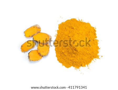 Turmeric powder and turmeric isolated on white background. - stock photo
