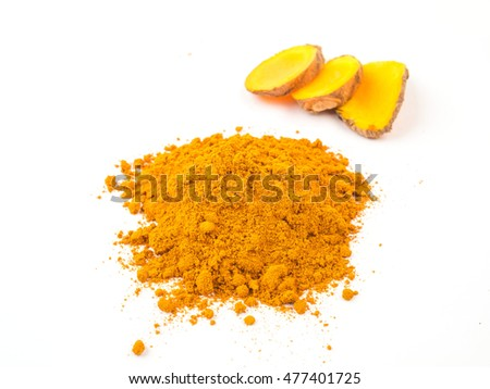 Turmeric powder and turmeric  on white background. Herbal