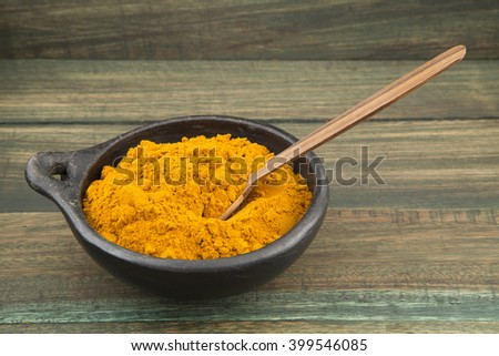 turmeric powder in bowl and wooden spoon