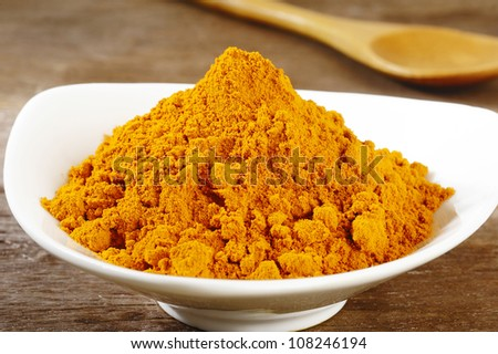 turmeric powder in white dish