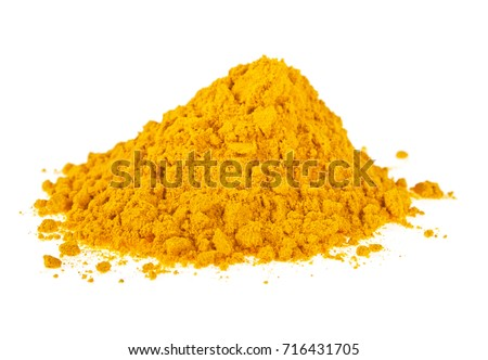 Turmeric powder isolated on a white background, Curcuma