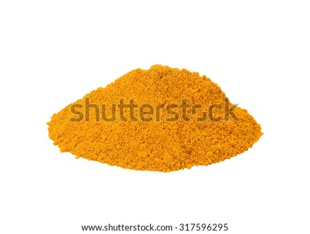 turmeric powder isolated on white background. This has clipping path. - stock photo