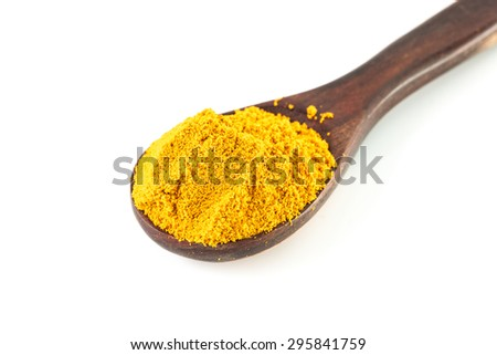 Turmeric powder on a wooden spoon isolated on white background