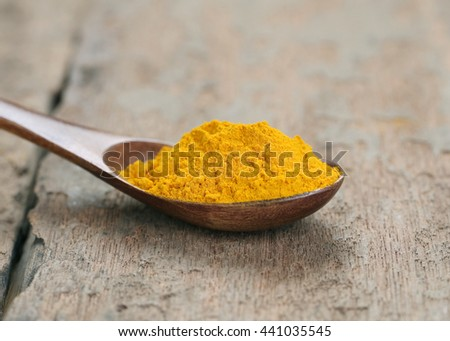 Turmeric powder on wooden spoon,with copy space,View from the top.
