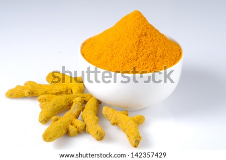 Turmeric powder, Turmeric  spice - stock photo