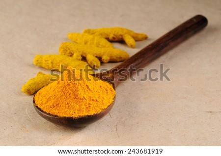 turmeric powder with turmeric sticks  - stock photo