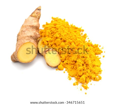 Turmeric roots background - stock photo