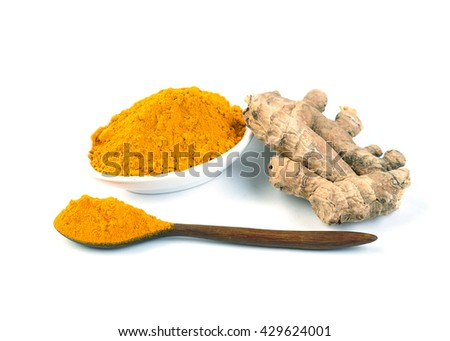 Turmeric roots, Turmeric powder and turmeric isolated on white background. - stock photo