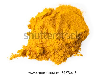 Turmeric spice powder isolated on white background - stock photo
