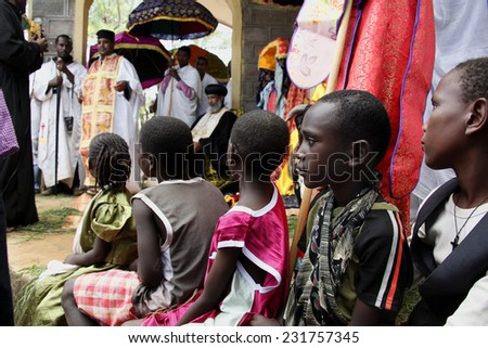 TURMI, ETHIOPIA - NOVEMBER 22, 2011:Celebration of day of Saint Mikhail in orthodox Christian church. November 22, 2011 in Turmi, Ethiopia. - stock photo