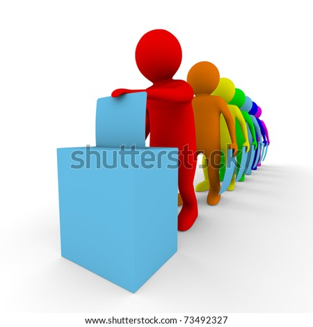 Turn for voting on white. Isolated 3D image - stock photo