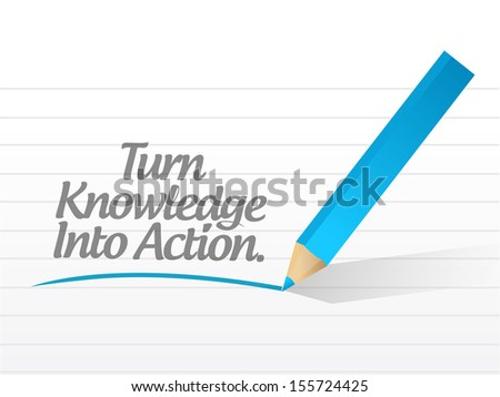 turn knowledge into action message illustration design over white