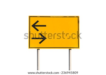 Turn left and right traffic sign on white background - stock photo
