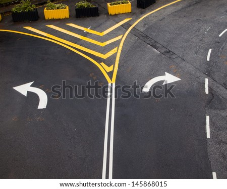 Turn left and right turn driving of traffic signs - stock photo