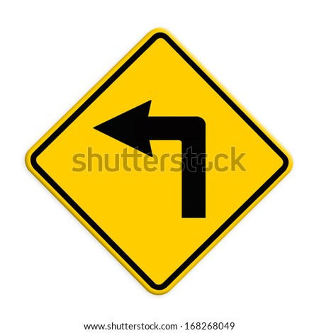 Turn left road sign. Part of a series. - stock photo