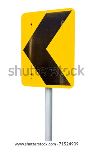 Turn left  signs on the white background. - stock photo