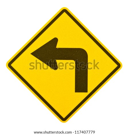 Turn left yellow road sign isolated on white background with clipping path. - stock photo