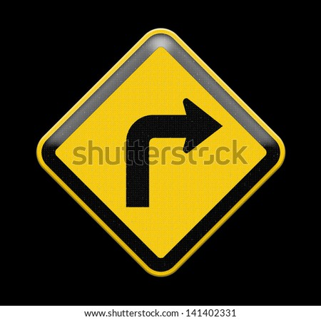 Turn left yellow road sign, Part of a series. - stock photo