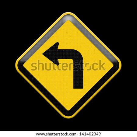 Turn left yellow road sign , Part of a series. - stock photo