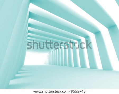 Turn of the shined corridor with blue columns and light making the way ahead - stock photo