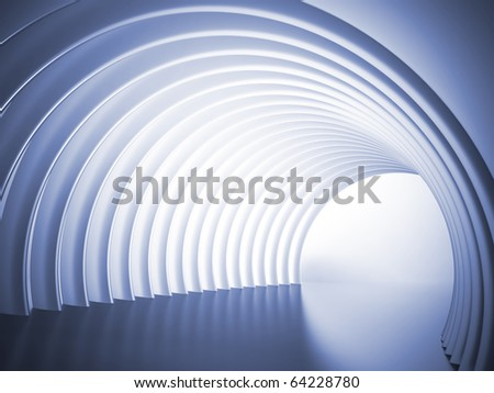 Turn of the shined corridor with light making the way ahead - stock photo