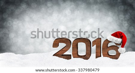 turn of the year concept with wooden numbers and xmas hat - stock photo