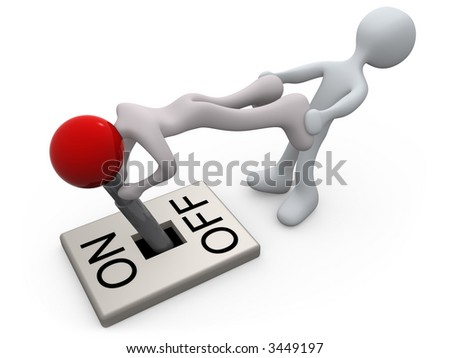 Turn off lever-man - stock photo