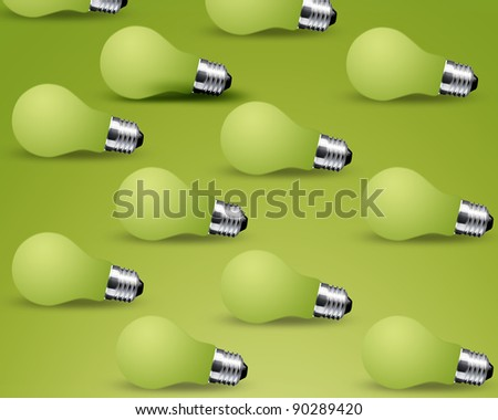 Turn off Light bulbs on green background - stock photo
