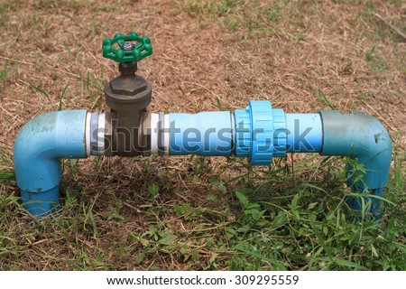 Turn off the water valve - stock photo