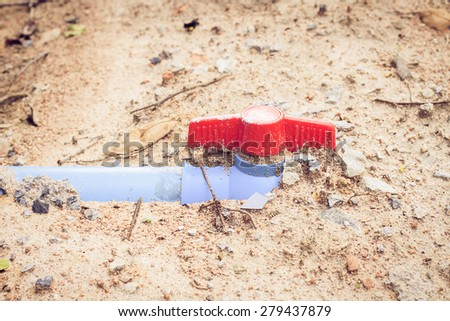 Turn off the water valve,pipe - stock photo