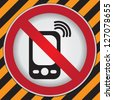 Turn Off Your Mobile Phone or Mobile Phone Are Not Allowed Prohibited Sign in Caution Zone Dark and Yellow Background - stock photo
