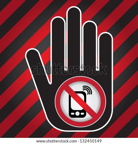 Turn Off Your Mobile Phone or Mobile Phone Are Not Allowed Prohibited Sign Present By Hand With Mobile Phone Are Not Allowed Prohibited Sign Inside in Caution Zone Dark and Red Background - stock photo