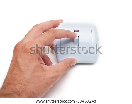 Turn on - off concept. Hand and light switch isolated on white - stock photo