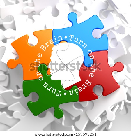 Turn On the Brain Written Arround Human Head Icon on Multicolor Puzzle. - stock photo