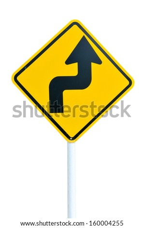 Turn right and turn left yellow road sign isolated on white background