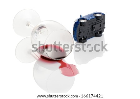 turn the car and glass of wine. concept does not drink driving - stock photo