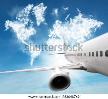 Turn the whole world with an aircraft - stock photo
