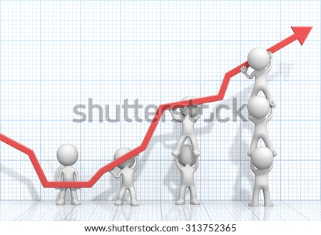 Turnaround. Male 3D characters business people pushing up Red Graph. Light Blue 3D Grid background.  - stock photo