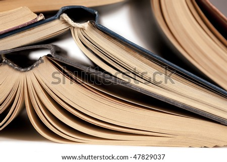 Turned down open books - stock photo