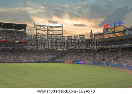 Turner Field, the home of the Atlanta Braves, seen during a sunset - stock photo