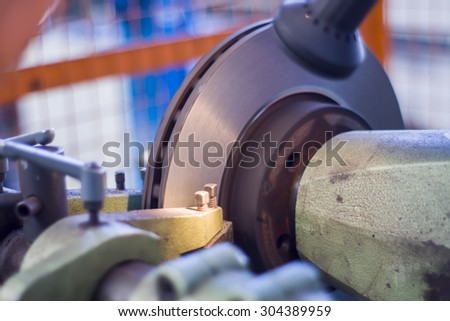 Turner working lathe. - stock photo
