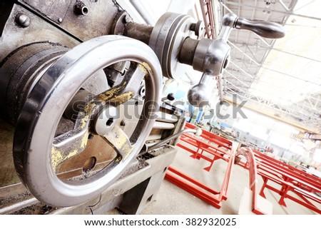 turning equipment machinery factory old - stock photo