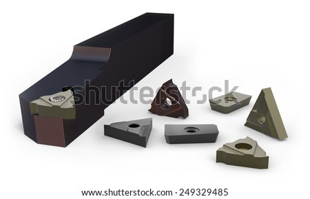 Turning holder and inserts isolated on white - stock photo
