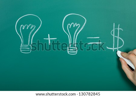 Turning ideas into cash concept on chalkboard - stock photo